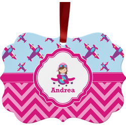 Airplane Theme - for Girls Metal Frame Ornament - Double Sided w/ Name or Text