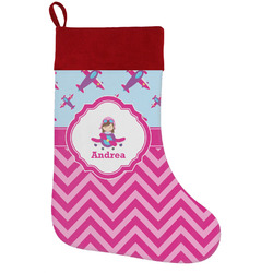 Airplane Theme - for Girls Holiday / Christmas Stocking (Personalized)