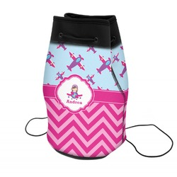 Airplane Theme - for Girls Neoprene Drawstring Backpack (Personalized)