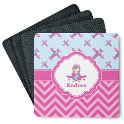 Airplane Theme - for Girls 4 Square Coasters - Rubber Backed (Personalized)
