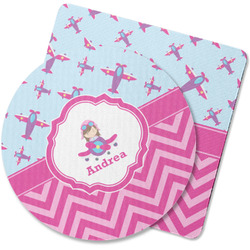 Airplane Theme - for Girls Rubber Backed Coaster (Personalized)