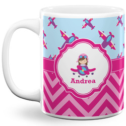 Airplane Theme - for Girls 11 Oz Coffee Mug - White (Personalized)