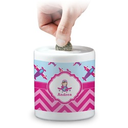 Airplane Theme - for Girls Coin Bank (Personalized)