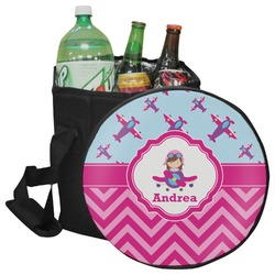 Airplane Theme - for Girls Collapsible Cooler & Seat (Personalized)