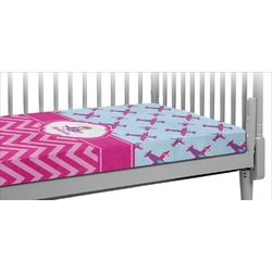 Airplane Theme - for Girls Crib Fitted Sheet (Personalized)