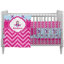 Airplane Theme - for Girls Crib Comforter / Quilt (Personalized)