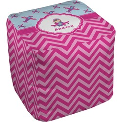 Airplane Theme - for Girls Cube Pouf Ottoman (Personalized)