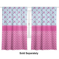 "Airplane Theme - for Girls Curtains - 20""x84"" Panels - Lined (2 Panels Per Set) (Personalized)"