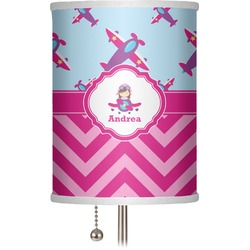 "Airplane Theme - for Girls 7"" Drum Lamp Shade (Personalized)"