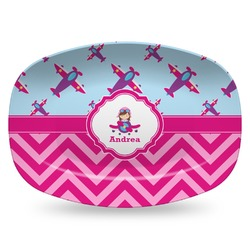 Airplane Theme - for Girls Plastic Platter - Microwave & Oven Safe Composite Polymer (Personalized)