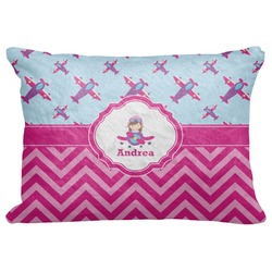 "Airplane Theme - for Girls Decorative Baby Pillowcase - 16""x12"" (Personalized)"