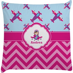 Airplane Theme - for Girls Decorative Pillow Case (Personalized)