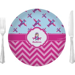 Airplane Theme - for Girls Glass Lunch / Dinner Plates 10