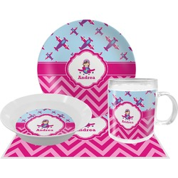 Airplane Theme - for Girls Dinner Set - 4 Pc (Personalized)