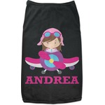Airplane Theme - for Girls Black Pet Shirt (Personalized)