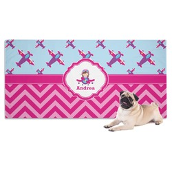 Airplane Theme - for Girls Pet Towel (Personalized)