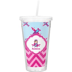 Airplane Theme - for Girls Double Wall Tumbler with Straw (Personalized)