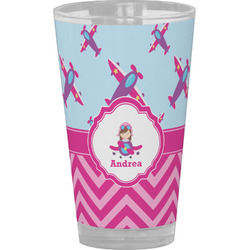 Airplane Theme - for Girls Drinking / Pint Glass (Personalized)