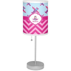 "Airplane Theme - for Girls 7"" Drum Lamp with Shade (Personalized)"