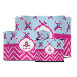 Airplane Theme - for Girls Drum Lamp Shade (Personalized)
