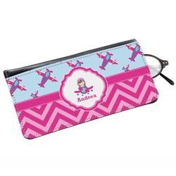 Airplane Theme - for Girls Genuine Leather Eyeglass Case (Personalized)