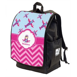 Airplane Theme - for Girls Backpack w/ Front Flap  (Personalized)
