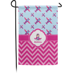Airplane Theme - for Girls Garden Flag - Single or Double Sided (Personalized)