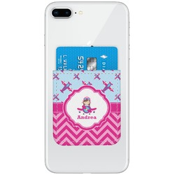 Airplane Theme - for Girls Genuine Leather Adhesive Phone Wallet (Personalized)
