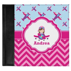 Airplane Theme - for Girls Genuine Leather Baby Memory Book (Personalized)