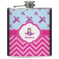 Airplane Theme - for Girls Genuine Leather Flask (Personalized)