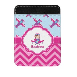 Airplane Theme - for Girls Genuine Leather Money Clip (Personalized)