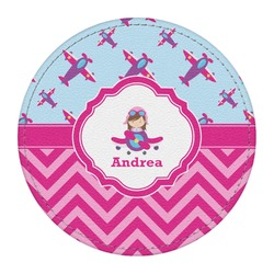 Airplane Theme - for Girls Round Desk Weight - Genuine Leather  (Personalized)