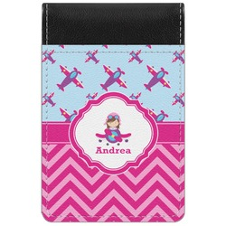 Airplane Theme - for Girls Genuine Leather Small Memo Pad (Personalized)