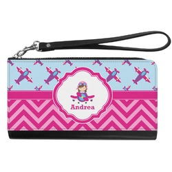 Airplane Theme - for Girls Genuine Leather Smartphone Wrist Wallet (Personalized)