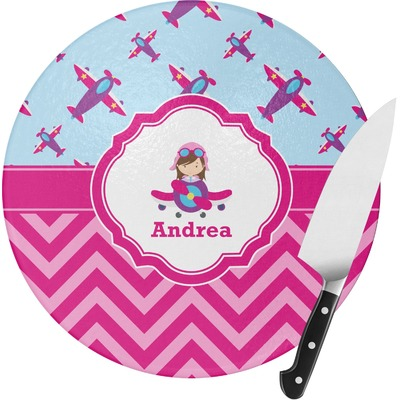 Airplane Theme - for Girls Round Glass Cutting Board (Personalized)