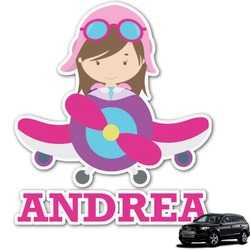 Airplane Theme - for Girls Graphic Car Decal (Personalized)