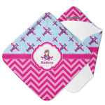 Airplane Theme - for Girls Hooded Baby Towel (Personalized)