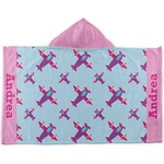Airplane Theme - for Girls Kids Hooded Towel (Personalized)