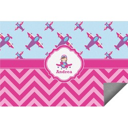 Airplane Theme - for Girls Indoor / Outdoor Rug (Personalized)