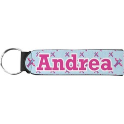 Airplane Theme - for Girls Neoprene Keychain Fob (Personalized)