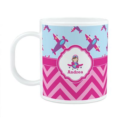 Airplane Theme - for Girls Plastic Kids Mug (Personalized)