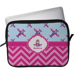"""Airplane Theme - for Girls Laptop Sleeve / Case - 13"""" (Personalized)"""