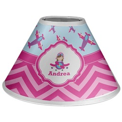 Airplane Theme - for Girls Coolie Lamp Shade (Personalized)