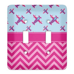 Airplane Theme - for Girls Light Switch Cover (2 Toggle Plate) (Personalized)