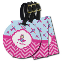 Airplane Theme - for Girls Plastic Luggage Tags (Personalized)