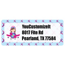 Airplane Theme - for Girls Return Address Labels (Personalized)