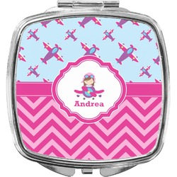 Airplane Theme - for Girls Compact Makeup Mirror (Personalized)