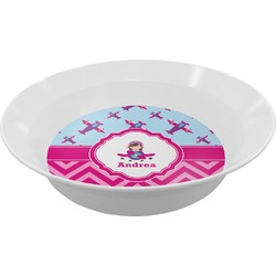 Airplane Theme - for Girls Melamine Bowl (Personalized)