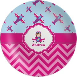 Airplane Theme - for Girls Melamine Plate (Personalized)