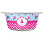 Airplane Theme - for Girls Stainless Steel Dog Bowl (Personalized)